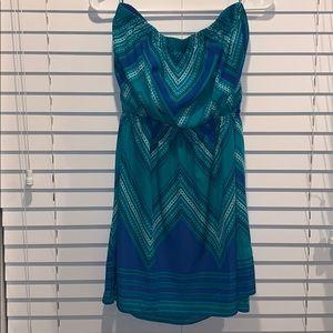 Strapless faux wrap cocktail dress